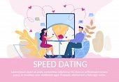 Flat Text Poster Inviting Lonely People On Speed Dating. Cartoon Man And Woman Couple On First Roman poster