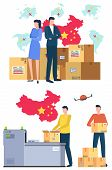 International Business, Parcel, Cardboard Boxes, Delivery Services Workers. Commerce Logistics, Dist poster