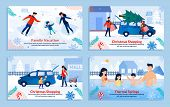 Extreme Family Winter Sport And Rest Banner Set. Cartoon Poster With Parents And Children Resting, H poster