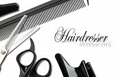 stock photo of trimmers  - scissors and comb on a white background - JPG