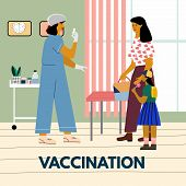 Children Vaccination And Immunization Concept. Mother With Child Gonna Make A Vaccine Injection.  Pe poster