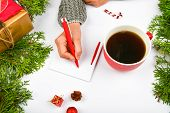 Writes Wishes With A Coffee Mug. Dreams Of Goals Plans Make A List For Writing New Year Christmas Co poster