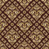 Classic Seamless Vector Pattern. Damask Orient Ornament. Classic Vintage Background. Orient Brown An poster