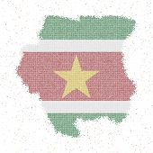 Map Of Suriname. Mosaic Style Map With Flag Of Suriname. Vector Illustration. poster