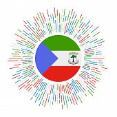 Equatorial Guinea Sign. Country Flag With Colorful Rays. Radiant Sunburst With Equatorial Guinea Fla poster