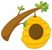 picture of honey bee hive  - cartoon of a beehive hanging from a branch - JPG