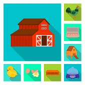 Vector Illustration Of Countryside And Plant Symbol. Collection Of Countryside And Farming Vector Ic poster