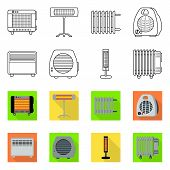 Vector Illustration Of Household And Appliances Icon. Collection Of Household And Appliance Stock Sy poster