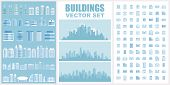 Buildings Vector Set. Collection Of Town And City Urban Architecture For Your Design. Contain Pictog poster