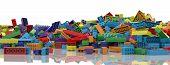 Colored Toy Bricks Background. Rainbow Colors. Random Coloured Plastic Construction Blocks. 3d Illus poster