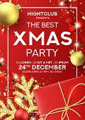 Christmas Party Flyer Invitation. Holiday Background With Realistic Red Gift Box, Gold Snowflake And poster