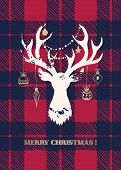 A Merry Christmas Card With A White Textured Silhouette Of A Deer Head With Gold Hand-drawn Baubles  poster