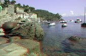 Remains of the ancient harbor in the bay of Portofino in Liguria, Italy (anaglyph stereoscopic image