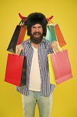 Marvellous Purchase. Bearded Man Smiling With Personal Purchase. Happy Hipster In Bull Horns Hat Hol poster