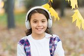 Simply Music Feelings. Cute Little Child Listen To Music Playing In Stereo Headphones. Adorable Girl poster