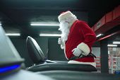 Santa Claus Training At The Gym On Christmas Day. Santa Claus Running In Machine Treadmill At Fitnes poster