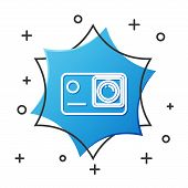 White Line Action Extreme Camera Icon Isolated On White Background. Video Camera Equipment For Filmi poster