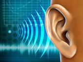 foto of ear  - Conceptual image about human earing test - JPG