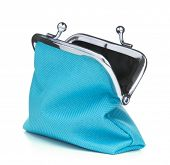 Blue cash wallet isolated over white background. Charge purse. Open empty coin wallet.. poster