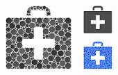 First Aid Bag Composition Of Round Dots In Various Sizes And Shades, Based On First Aid Bag Icon. Ve poster
