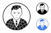 Rounded Gentleman Mosaic Of Filled Circles In Various Sizes And Color Tints, Based On Rounded Gentle poster