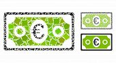 Euro Banknote Mosaic Of Inequal Parts In Different Sizes And Color Tinges, Based On Euro Banknote Ic poster