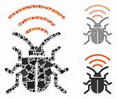 Radio Bug Composition Of Ragged Parts In Variable Sizes And Shades, Based On Radio Bug Icon. Vector  poster