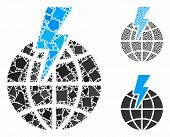 Global Shock Mosaic Of Uneven Pieces In Different Sizes And Color Tones, Based On Global Shock Icon. poster