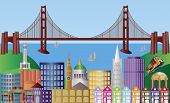 San Francisco City Skyline Panorama ilustración
