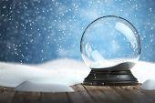 Empty snow globe Christmas background. 3d illustration poster