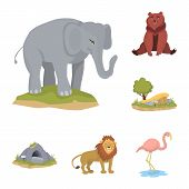 Vector Design Of Zoo And Park Logo. Collection Of Zoo And Animal Stock Vector Illustration. poster