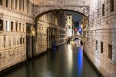 Canal of Venice city with beautiful architecture at night, Italy poster