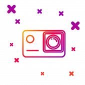 Color Line Action Extreme Camera Icon Isolated On White Background. Video Camera Equipment For Filmi poster
