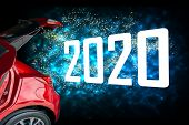 Car Tail Light Red Color With 2020 On Black Background For Customers. Using Wallpaper Or Background  poster