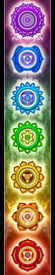 picture of tantra  - An illustration of the seven main chakras in rainbow colors - JPG