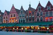 Evening Market Square In Bruges