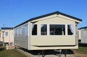 picture of trailer park  - Exterior of modern static caravan in trailer park - JPG