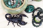 pic of malachite  - Emperor Scorpion with onyx jewelry box malachite brooch and black necklace - JPG