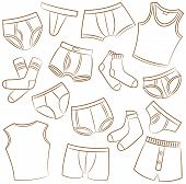 foto of tanga  - Male Underwear Doodle Icon Set On The White - JPG