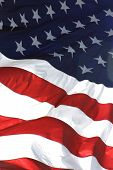 image of waving american flag  - american flag in vertical view - JPG