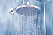 stock photo of stall  - Head shower while running water - JPG