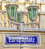 image of bonnes  - street shield Europa Platz in Bonn with old lantern
