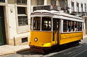 pic of tram  - Traditional old touristic tram in Lisbon Portugal - JPG