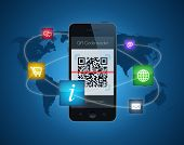 stock photo of qr-code  - A smartphone showing a QR code reader - JPG