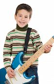 picture of children playing  - Adorable child playing electric guitar on a over white background - JPG
