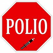 foto of polio  - Health sign to help eradicate Poliomyelitis worldwide with vaccination - JPG