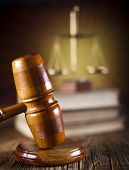 stock photo of magistrate  - Judges wooden gavel and law Scales   - JPG