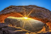 picture of southwest  - Sunrise at Mesa Arch in Canyonlands National Park near Moab Utah USA - JPG