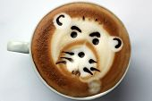 picture of latte coffee  - drawing on coffee latte art 