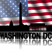 stock photo of washington skyline  - Washington DC skyline and text reflected with rippled American flag illustration - JPG